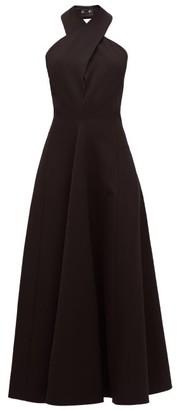 Jil Sander Halterneck Wool Twill Dress - Womens - Black