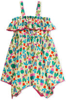 Sweet Heart Rose Cactus-Print Pom-Pom Dress, Little Girls (2-6X)