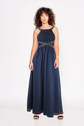 Little Mistress Bridesmaid Lauren Gunmetal Lace Insert Maxi Dress With Keyhole