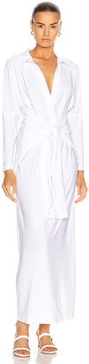 Norma Kamali Tie Front NK Shirt Dress in White | FWRD