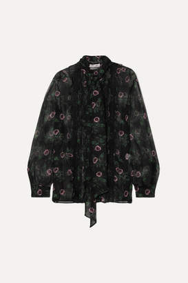 Valentino Pussy-bow Lace-trimmed Floral-print Silk-chiffon Blouse - Black