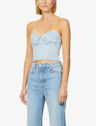 GRLFRND Esme stretch-denim crop top