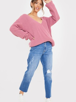 In The Style X Jac JossaDrop Shoulder Wrap Soft Knit Top - Pink