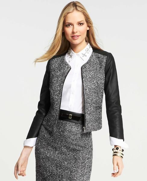 Ann Taylor Petite Faux Leather Sleeve Tweed Jacket