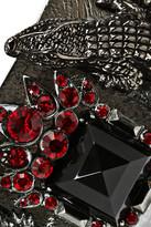 Roberto Cavalli Rhodium-plated Swarovski crystal alligator cuff