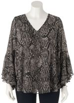JLO by Jennifer Lopez Plus Size Leopard Chiffon Top