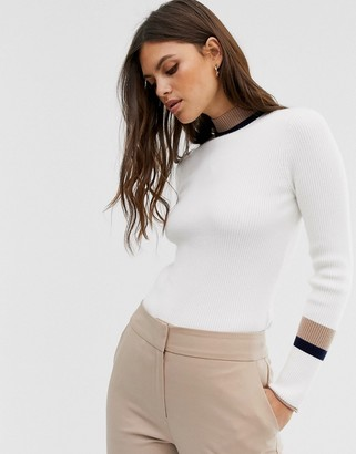 Fashion Union high neck jumper with contrast stripe detail-White