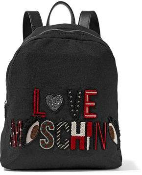 Love Moschino Leather-trimmed Appliqued Canvas Backpack