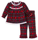 Little Me 2-Piece Christmas Plaid Ruffle Pajama Set in Red
