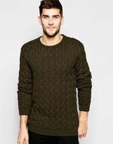 Asos Crew Neck Jumper With All Over Cable Detail