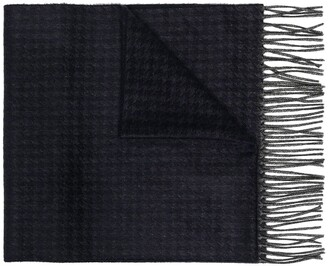Canali Houndstooth-Pattern Knitted Scarf