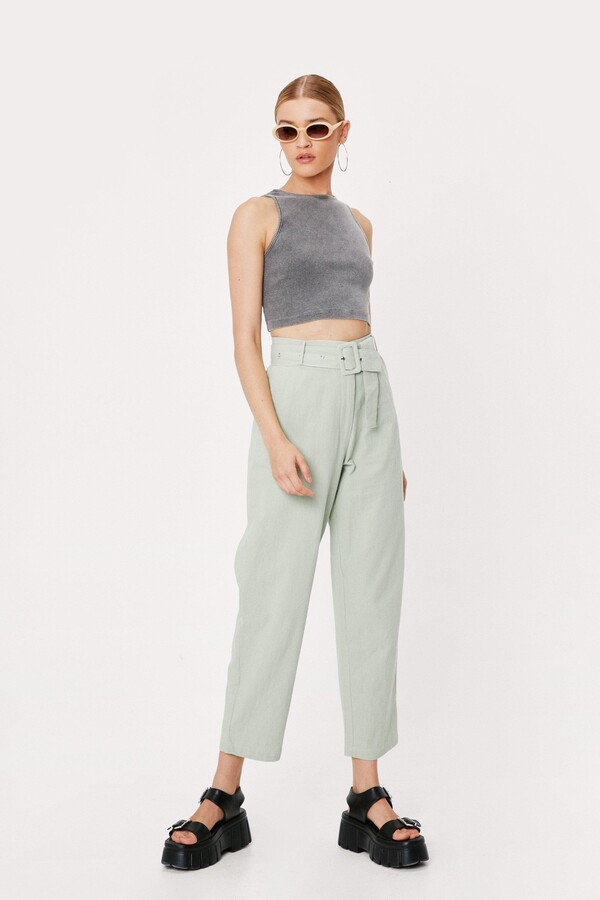 Thumbnail for your product : Nasty Gal Womens Linen High Waisted Tapered Pants