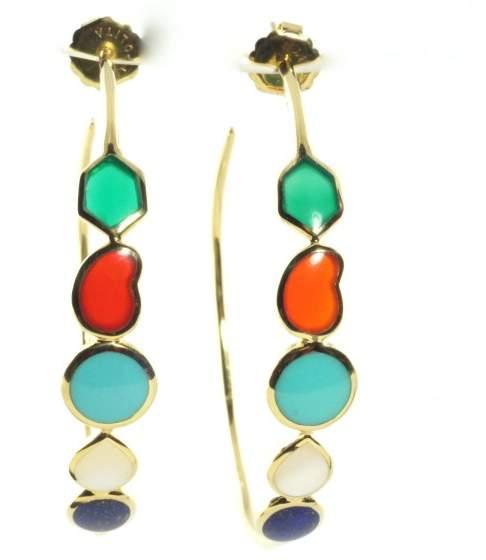 Ippolita 18K Yellow Gold Large Riviera Turquoise Lapis Sky Hoop Earrings
