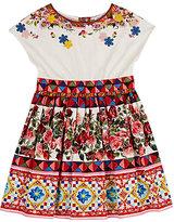 "Dolce & Gabbana Appliquéd ""Mambo""-Print Floral Cotton Dress"