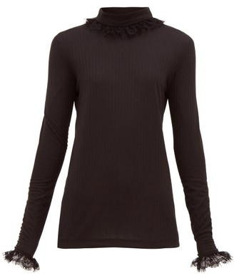 ÀCHEVAL PAMPA Escalda Roll-neck Ribbed Jersey Top - Black