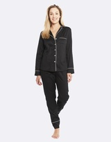 Deshabille Monogram Pj Set (No Embroidery) Black / Ivory
