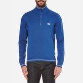 BOSS GREEN Men's Zime Zip Neck Knitted Jumper Open Blue