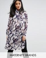 Mama Licious Mama.licious Floral Printed Long Sleeve Woven Shirt