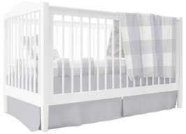 Ely's & Co. Crib Sheet, Quilted Blanket, Skirt Pillow Case Gingham Crib Set 4 Pc