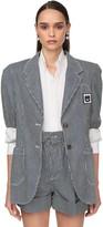 Miu Miu Striped Denim Jacket W/raglan Shoulders