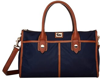 Dooney & Bourke Camden Satchel (Navy/Dark Chocolate Trim) Satchel Handbags