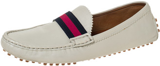 Gucci Cream Leather Web Trim Loafers Size 40