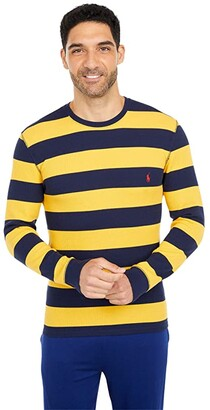 Polo Ralph Lauren Midweight Waffle Rugby Stripe Long Sleeve Crew (Cruise Navy Gold Bugle Stripe/RL2000 Red) Men's Clothing