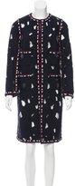 Chanel Mesh-Accented Tweed Coat