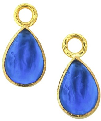 Elizabeth Locke Venetian Glass Intaglio Peacock 'Small Pear Shape' Earring Pendants