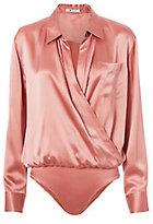 Alexander Wang Pink Silk Shirt Bodysuit