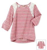 Speechless Girls' 7-16 Berry Striped Lace Shoulder French Terry Sweatshirt