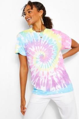 boohoo Rainbow Tie Dye Oversized Tshirt