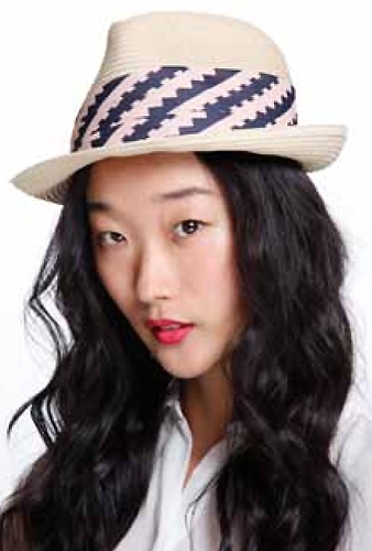 Genie by Eugina Kim Genie By Eugina Kim Edie Braid Fedora in Ivory with Pink/Navy