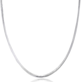 Pori Jewelers 925 Sterling Silver High Polished 1.3 MM Square Snake 040 Chain Necklace