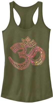 Fifth Sun Women's Tank Tops MIL - Military Green Watercolor 'Om' Racerback Tank - Women & Juniors
