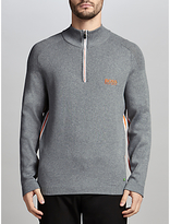 Hugo Boss Boss Green Pro Golf Zayo Water-repellent Half-zip Jumper, Light Pastel Grey
