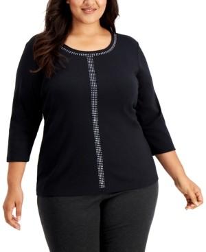 Karen Scott Plus Size Runway Dazzle Embellished Scoop-Neck Top, Created for Macy's