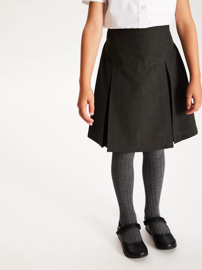 John Lewis & Partners Girls' The Basics Adjustable Waist Basic School Skirt, Pack of 2, Grey