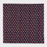 Paul Smith Men's Dark Navy 'Strawberry Skull' Print Silk Pocket Square