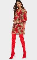 PrettyLittleThing Red Baroque Print Chiffon Oversized Shirt Dress