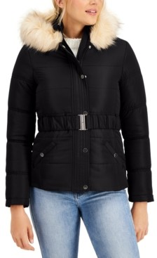Maralyn & Me Juniors' Hooded Faux-Fur-Trim Belted Puffer Coat, Created for Macy's