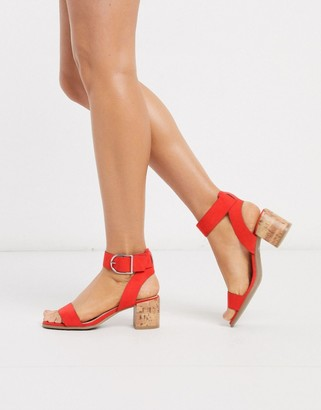 Qupid mid heeled sandals in red