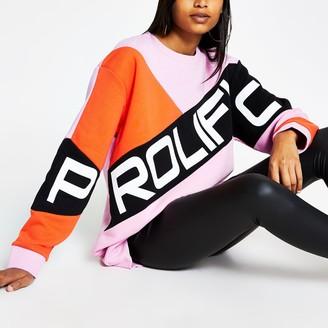 River Island Womens Prolific Pink blocked embellished sweatshirt