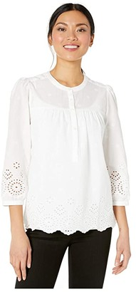 Lucky Brand 3/4 Sleeve Button Neck Rebecca Eyelet Popover Top (Lucky White) Women's Clothing
