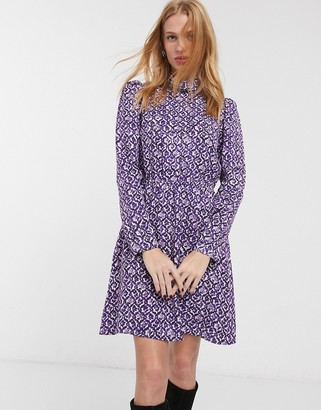 And other stories & floral print high neck mini dress in purple