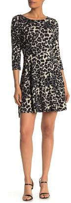 Papillon Leopard Print 3/4 Sleeve Fit & Flare Dress