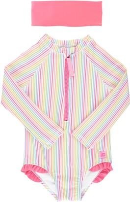 RuffleButts Rainbow Stripe One-Piece Rashguard Swimsuit & Head Wrap Set