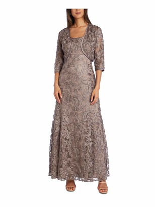 R & M Richards R&M Richards Womens Beige Embroidered Sleeveless Scoop Neck Maxi Fit + Flare Formal Dress UK Size:14