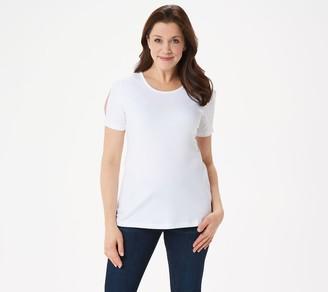 Denim & Co. Scoop-Neck Short Split Sleeve Top