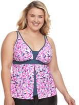 Free Country Plus Size Printed Flyaway Tankini Top